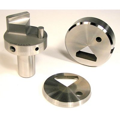 Cluster Punch and Notch - UniPunch created a cluster punch, die and stripper to notch the edge of a customer's part and simultaneously create a hole near the notch, all in one stroke of the press.