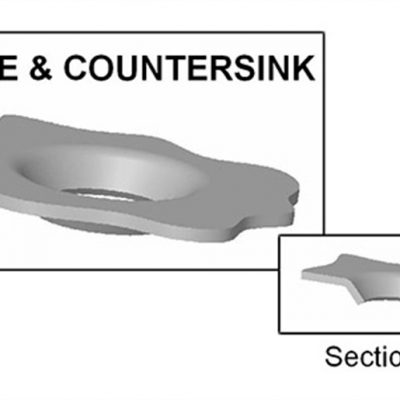 Pierce and Countersink - With UniPunch tooling, you can punch and countersink your material in a single press stroke. The screw or fastener dimensions are required for preparing a quotation.